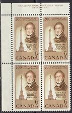 CANADA #501 6¢ Sir Isaac Brock UL Plate Block MNH