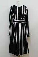 HOBBS Ladies Midnight Blue Long Sleeve Stripe Rosemond Shift Dress UK10 NEW