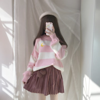 Lolita Stripe Mori Girl Sweet Japanese Embroidery Sweater Pullover Loose Dress @