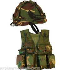 BOYS ARMY SOLDIER FANCY DRESS COSTUME KIDS DPM CAMO ASSAULT VEST HELMET DRESS UP
