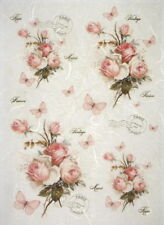 Rice Paper for Decoupage, Scrapbook Sheet, Pink rose bouquets