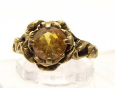 Vtg 10K Gold Citrine Ring Sz 4.5 Cocktail Ornate Flower Estate Signed Spring