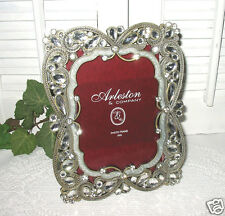 White Enamel Picture Frame ~ 4x6 Faux Jeweled Stones - Metal Silvertone - New