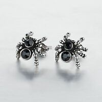 silver stud stainless steel black crystal vintage style spider earrings Gothic