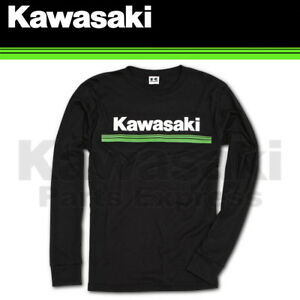 BRAND NEW GENUINE KAWASAKI 3 GREEN LINES LONG SLEEVE T-SHIRT K007-2024-BK