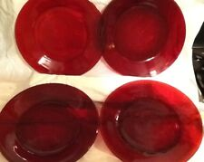 """(5) Vintage Depression RUBY RED Glass Dinner Plates, 9""""  Round"""
