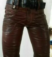 Pure leather men's new style pant genuine buffalo skin motorbike style pant