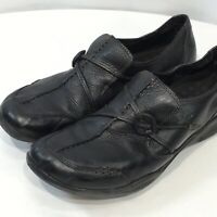 Clarks Wave Run Shoes Black 9M Leather Comfort Slip on