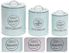 Set of 3 Coffee Sugar & Biscuit Tins Coffee Sugar Biscuit Canisters Kitchen Jars