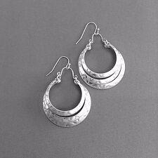 Hammered Silver Finish Half Circle Shape Triple Layer Drop Dangle Hook Earrings