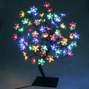 48 LED Pre-Lit Light Up Cherry Blossom Bonsai Tree Table Lamp Easter Room Decor