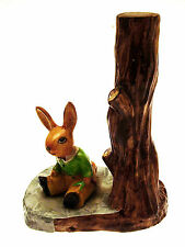 More details for bygone par ware rabbit and tree stump pottery figurine