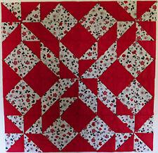 Handmade Quilt Top, Unfinished, Pieced, Light and Dark Grey, Red, HMJQuiltsPlus