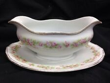A-P Austria Bone China Gravy Boat w Plate, Pink & White Roses, Green Fern Leaves