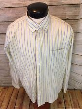 453fa0139 Men's Alan Flusser Dress Shirt LS XL Striped Hidden Button Collar - B5
