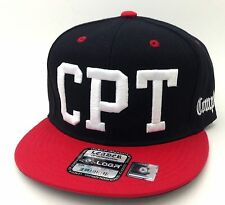 "New Black/Red  Hip Cool ""CPT"" COMPTON  3D Embroidered Flat Bill Snap-back Hat"