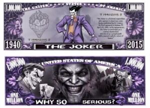 Pack of 25 - The Joker DC Comics Series 1 Mil Collectible Novelty Dollar Bill