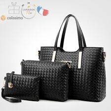 Bag Set Sacs femme: Sac à Main + Sac à Bandoulière + Sac Key en Cuir Noir