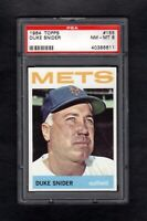 1964 TOPPS #155 DUKE SNIDER HOF METS PSA 8 NM/MT++ SHARP CARD!