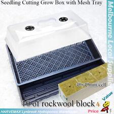 Hydroponics Propagation Seeding Cloning Cutting Kit Grow Dome Mesh Tray Rockwool