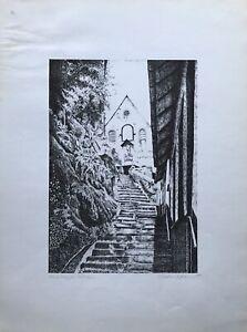 Etching Signed Maringer Klostertreppe City Cochem Mosel Wine Um 1990