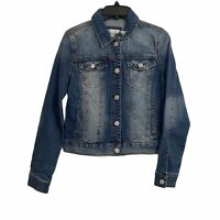 Mudd Womens Sz Small Button Up Blue Denim Jean Jacket Medium Wash Destroyed NEW