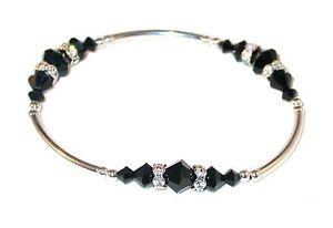 JET BLACK Crystal Bracelet Sterling Silver Handcrafted Swarovski Elements