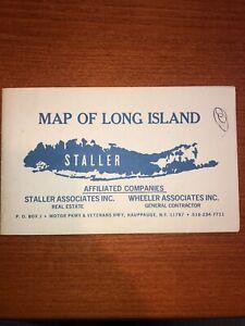 vintage 1960s Era Long Island New York folding map Staller Columbia marketing