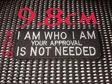 Quality Iron/Sew on I AM WHO I AM patch Biker Harley Davidson Slogan quote