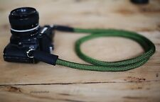 C model Green Climbing rope 10.5mm handmade Black leather Camera neck strap