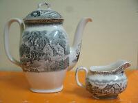 Antico RareSET SERVITO Caffettiera+Lattiera WOODLANDWood&Sons Potters200Years