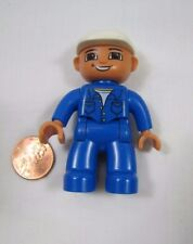 "Lego Duplo WORKER MAN DAD FATHER in Blue 2.5"" MINI FIGURE Excellent Minifig"