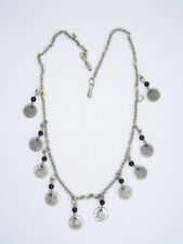 """TRIBAL STYLE ANTIQUE COIN  STERLING SILVER CHAIN NECKLACE ~ 16"""""""