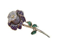 Rhinestones Brooch Pin Corsage Br126 Elegant Purple Rose Flower Shiny Crystal