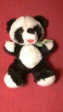 """Vintage 14"""" PANDA BEAR black white plush stuffed animal toy"""