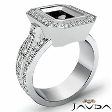 Halo Pave Set Diamond Engagement Emerald Semi Mount Huge Ring 1.65Ct 14k W Gold