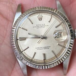 ROLEX DATEJUST 1601 VINTAGE WATCH 100% GENUINE FLUTED 1970 WHITE GOLD BEZEL 36MM