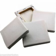 4 X PLAIN SMALL 7CM SQUARE CANVAS MINI BOARDS ART ACRYLIC/OIL PAINT BLANK/WHITE