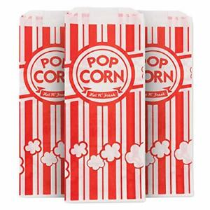 1oz Popcorn Bag, Red and White Disposable Carnival Popcorn Bags (500 Count)