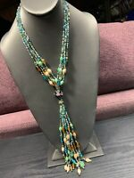 """Vintage WOW Bohemian 20"""" Multi Strand COLOR seed bead Art Glass Tassel Necklace"""