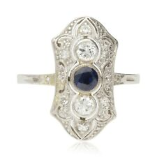 VINTAGE SAPPHIRE & DIAMOND PANEL CLUSTER RING - 20TH C
