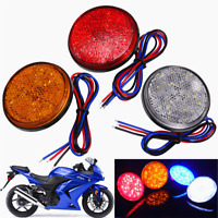 UK 2X Rear Tail Brake Stop Light Lamp LED Round Reflector For Car Motorcycle ABS