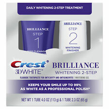 Crest 3D Brilliance Daily 2-Step Treatment, Toothpaste + Gel