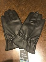 Men's Warm Lined Black leather Gloves -brand new with tags with cellophane pack