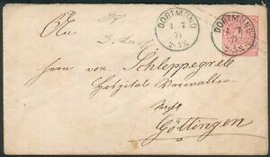 NDP Brief Dortmund in blau (2x) 1871 orig. gelaufen nach Göttingen RARITÄT