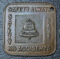 Vintage SQUARE TOKEN - Local and Long Distance Telephone SAFETY ALWAYS - Nice