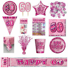 Glitz Pink 60th Birthday Party Tableware Decoration Plates Banners Candle Age 60