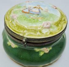 ANTIQUE FIGURAL EARTHENWARE DELFTWARE TIN GLAZE FAIENCE POLYCHROME HINGE JAR BOX
