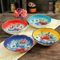 """Pasta Bowl Cookware Set of 4 The Pioneer Woman 7.5"""" Colorful Durable Stoneware"""