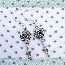 Orecchini Chiave Rosa Earrings Rose Cute Vintage Hipster Indie Victorian Key